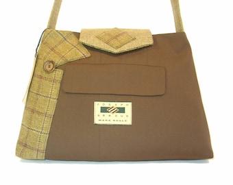 Alexander #1517 Recycled Suit Coat Handbag Everyday Shoulder Bag Medium Size Upcycled Handbag Ecofriendly Gift for Her Repurposed Suit Purse