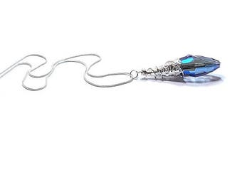 Blue Sapphire Crystal Pendant Necklace , Sterling Silver Chain , Gift For Her