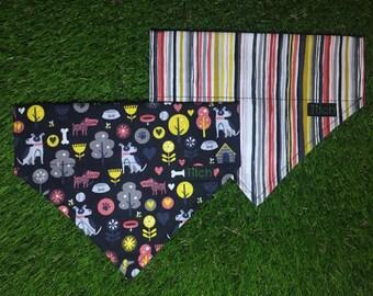 Dog bandana, stripey bandana, slide-on bandana, cute puppy bandana, cat bandana, matching accessories, pet neckwear, dog neckerchief
