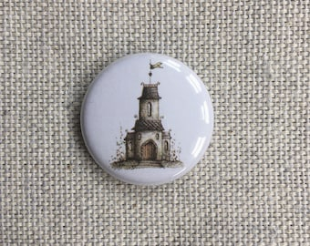 Chapel House. Pin-back Button Badge