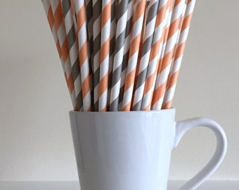 Peach and Gray Striped Paper Straws Coral and Grey Party Supplies Party Decor Bar Cart Cake Pop Sticks Mason Jar Straws Graduation