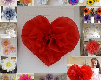 1x Large 45cm Tissue Paper Pom pom heart red st valentine's day christmas wedding party centerpiece colours available