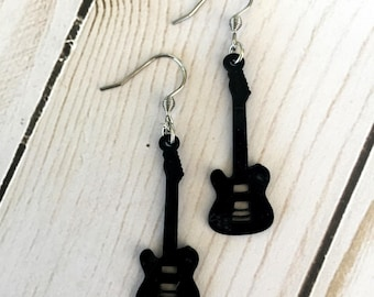 Recycled Guitar VINYL RECORD Earrings
