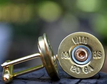 Wedding cuff links shotgun cuff links bullet cufflinks Winchester AA 20 gauge wedding cuff links gold cuff links bullet cufflinks