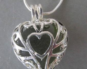Sea Glass Heart Jewelry, Heart Pendant, Beach Glass Locket Necklace, Sea Glass Locket, Beach Glass Jewelry Pendant, Heart Necklace