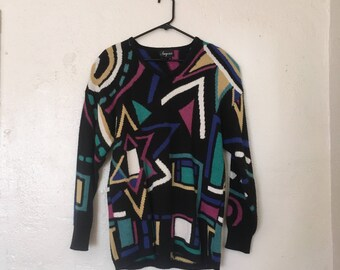 80's Geometric Oversized Sweater