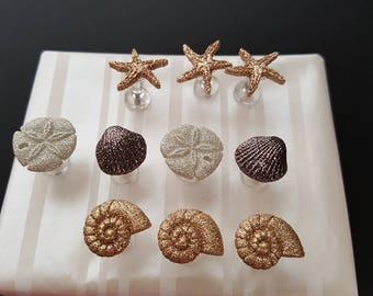 Glittery Seashell Push Pins, teacher gift, thank you, birthday, welcome, cork board, bulletin board, conch, sand dollar, starfish, daycare