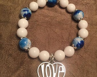 Valentines Large Blue and White Jade Bead 10 & 12MMStretch Bracelet; Removable Pendant