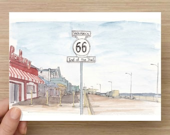 Ink and Watercolor Drawing of the Route 66 Sign on Santa Monica Pier - Beach Boardwalk, Ocean, Highway, Sketch, Art, Pen and Ink, 5x7, 8x10