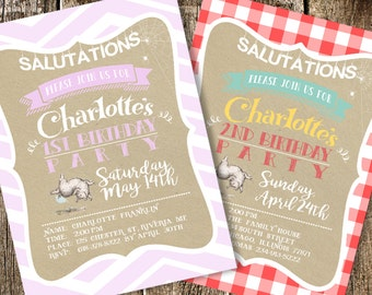Charlotte's Web Birthday Party Invitation Printable Pink Chevron or Red Gingham | Gingham Invitation | Wilbert Charlotte's Web Invitation