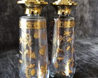 Vintage gold and glass Culver salt snd pepper shakers