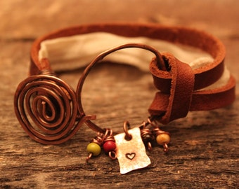 Sweet heart hand stamped and hammered copper leather bracelet