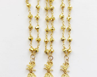 Gold Pyrite Pineapple Necklace
