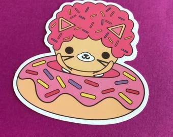 Afro Cat Sprinkle Donut Vinyl Sticker