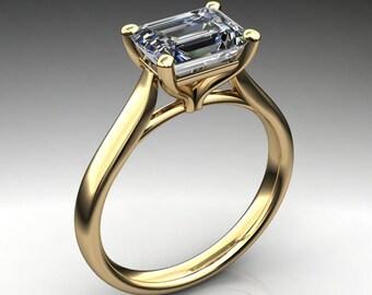 sabra ring – 1.75 carat emerald cut NEO moissanite engagement ring, east west engagement ring