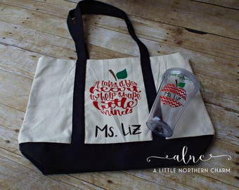 Personalized Teacher Tote Bag and Tumbler Set, Teacher Tote Bag, Teacher Apple Tumbler, Personalized Teacher Bag, Personalized Teacher Cup