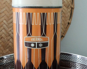 Vintage Thermos in Orange and Brown  Tailgate Hunting Farmhouse Hiking Outdoors Picnic Style Cleveland Brown Football