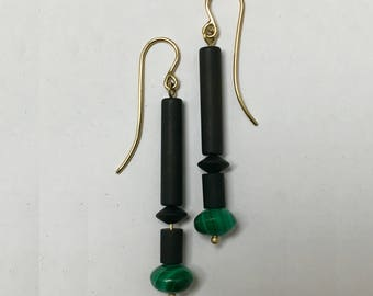 Onyx and Malachite Drop 14k Yellow Gold Handmade Earrings (EAR001111)