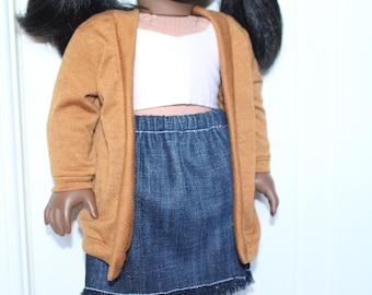SALE!! Caramel Brown Cardigan for Dolls - Fits American Girl
