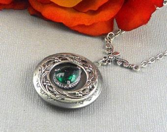 Victorian Emerald Locket Antique Silver Locket Rhinestone Vintage Green Birthstone Locket Necklace