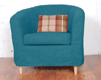 Ikea Tullsta Tub Chair Slip Cover In Stunning Teal Linen Look Fabric