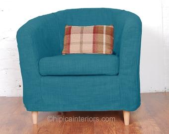 Gentil Ikea Tullsta Tub Chair Slip Cover In Stunning Teal Linen Look Fabric