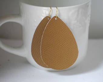 Medium Brown Textured Leather Teardrop Drop Earrings