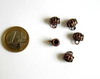 5 bails bead copper pattern 11 x 9 mm