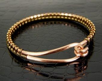 Copper Wire Bangle Bracelet Wire Wrapped in Brass