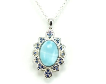 Larimar Necklace with Tanzanite Accent .925 Sterling Silver