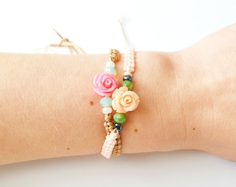 Bracelets with roses, peach, pink, summer
