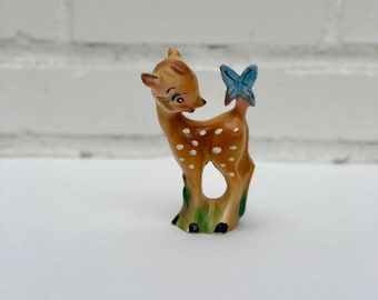Vintage Deer Figurine, Bambi and Butterfly, Fawn and Butterfly Figurine