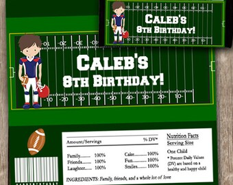Football Birthday Party Candy Bar Wrappers INSTANT DOWNLOAD Editable