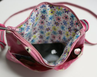 Pink Purse white with black dots shoulder strap