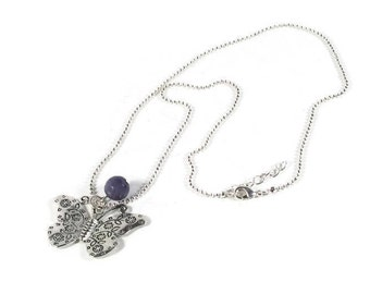 Silver Butterfly Charm with Purple Jade Gemstone Necklace