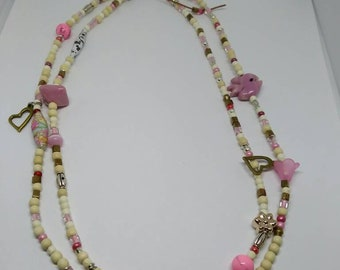 Pink Love Double Strand Necklace