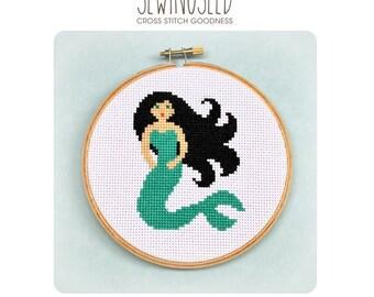 Mermaid Cross Stitch Pattern, Instant Download, PDF