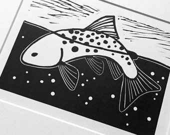 Midsummer Rise:  black and white linocut, a trout & fly fishing, small edition print