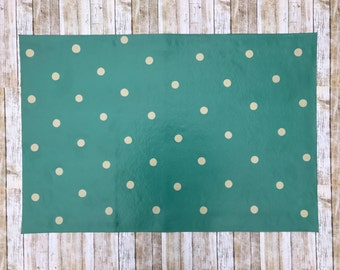 2'x 3' Teal Polka Dot Pattern Floor Cloth, Hand Painted Canvas Rug