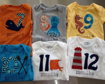 Nautical Month-by-Month Bodysuits (Months 1-12)