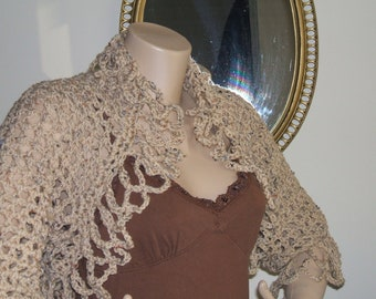 Lacy Beige Flecks/Tweed Shrug