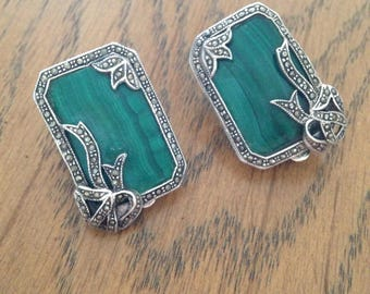 Sterling Silver Malachite and Marcasite Clip Earrings