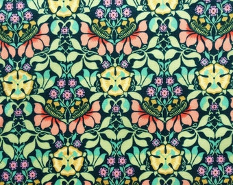 "2017: Persephone A Liberty Fabric scrap tana lawn 10"" x 10"" square (25,4 cm x 25,4 cm) petrol green pink yellow The Weavers Mill"