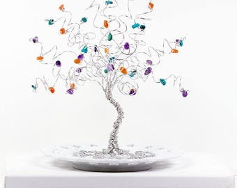 Gemstone Family Tree Birthstone Sculpture Mother Gift Grandmother Gift Tree of Life Wire Tree Sculpture Art Gem Tree