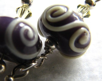 Mir - Dusty mauve and pale pale lemon lampworked earrings, swarovski crystal, sterling silver