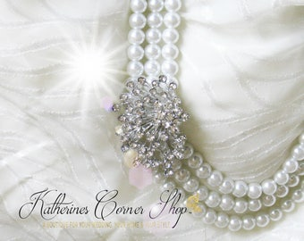 Pearl and Crystal Cluster Necklace, Statement Necklace, Sparkle Necklace, Vintage Inspired Bride