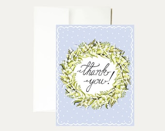 Thank You Watercolor Greeting Card - Calligraphy - Floral Wreath - Friendship - Flowers - Painted - Whimsical - Hand Painted-Art -Stationery