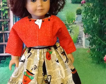 "Doll dress & jacket, Halloween fabric for 18"" dolls"