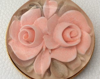 Vintage French Lucite Floral and Gold Tone Brooch.