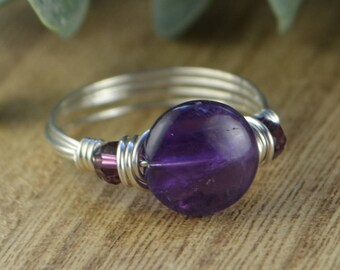 Purple Amethyst and Any Two Birthstones Ring- Sterling Silver, Yellow or Rose Gold Filled Wire Wrap Ring- Size 4 5 6 7 8 9 10 11 12 13 14